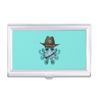 Cute Blue Baby Octopus Sheriff Business Card Holder