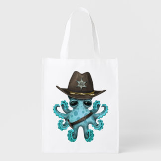 Cute Blue Baby Octopus Sheriff Reusable Grocery Bag