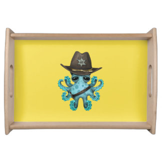 Cute Blue Baby Octopus Sheriff Serving Tray