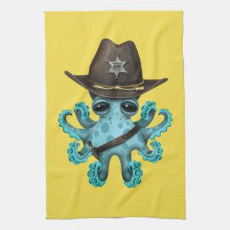 Cute Blue Baby Octopus Sheriff Tea Towel