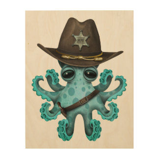 Cute Blue Baby Octopus Sheriff Wood Print