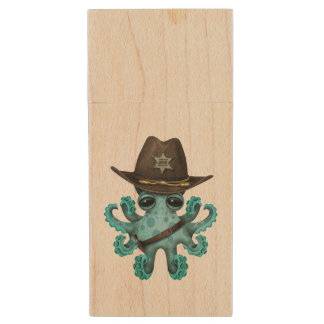 Cute Blue Baby Octopus Sheriff Wood USB Flash Drive