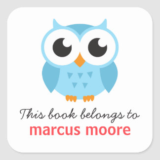 Cute blue baby owl animal cartoon bookplate book square sticker