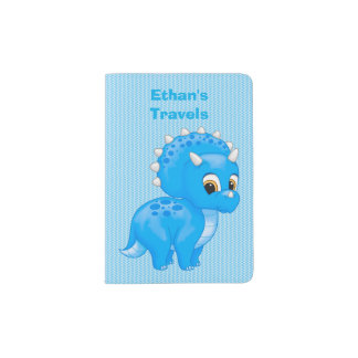 Cute Blue Baby Triceratops Dinosaur Passport Holder