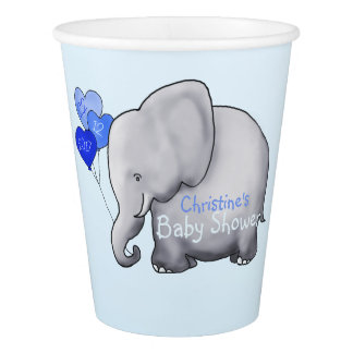 Cute Blue Balloons Elephant Baby Boy Shower Paper Cup
