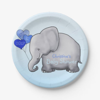 Cute Blue Balloons Elephant Boy Baby Shower Paper Plate