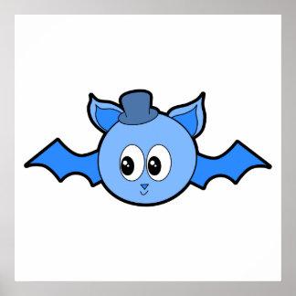 Cute Blue Bat Wearing a Hat Print