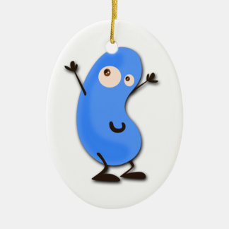 Cute Blue Bean Monster Ceramic Ornament