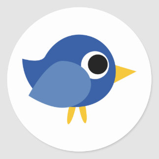 Cute Blue Bird Classic Round Sticker