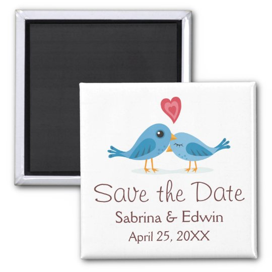Cute blue bird couple wedding save the date magnet