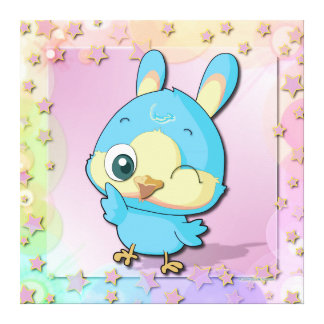 Cute Blue Bird Funny Cartoon Character Canvas Gallery Wrapped Canvas