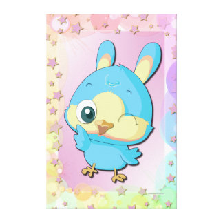Cute Blue Bird Funny Cartoon Character Canvas Stretched Canvas Prints
