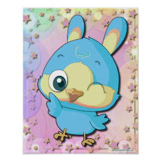 Cute Blue Bird Funny Cartoon Character Poster