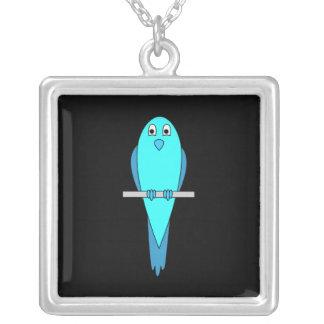 Cute Blue Bird. Parakeet. Black Silver Plated Necklace