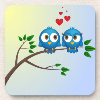 Cute blue birds in love cartoon coaster