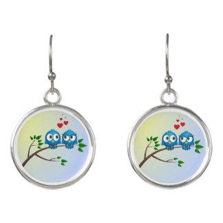 Cute blue birds in love cartoon earrings