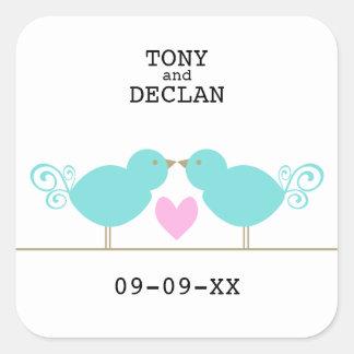 Cute Blue Birds Special Date Stickers Square Sticker