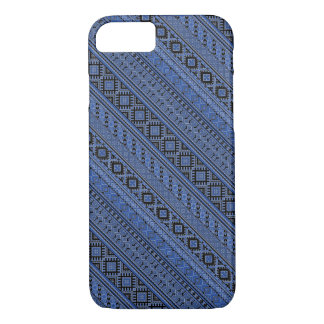 Cute blue black Ukrainian ornament stripes iPhone 7 Case
