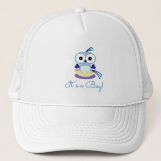 Cute Blue Boy Bird Gender Reveal Baby Shower Trucker Hat