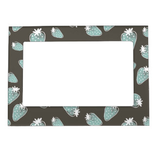 CUTE BLUE BROWN WATERCOLOUR STRAWBERRIES MAGNETIC PICTURE FRAME