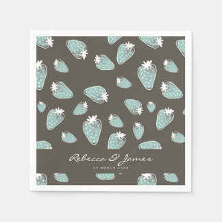 CUTE BLUE BROWN WATERCOLOUR STRAWBERRIES MONOGRAM DISPOSABLE SERVIETTE