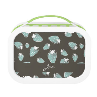 CUTE BLUE BROWN WATERCOLOUR STRAWBERRIES MONOGRAM LUNCH BOX