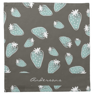 CUTE BLUE BROWN WATERCOLOUR STRAWBERRIES MONOGRAM NAPKIN