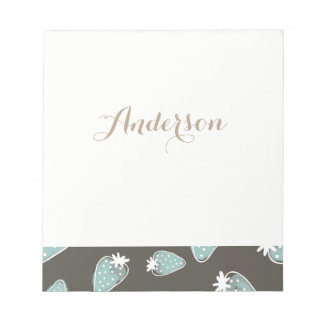 CUTE BLUE BROWN WATERCOLOUR STRAWBERRIES MONOGRAM NOTEPAD