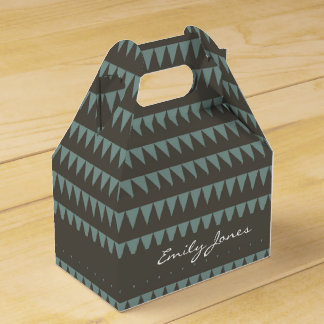 CUTE BLUE BROWN WATERCOLOUR TRIANGLE COL. FAVOUR BOX