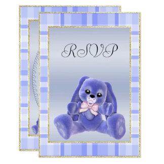 Cute Blue Bunny  Baby Shower RSVP Card