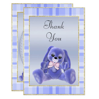 Cute Blue Bunny  Baby Shower Thank You Card
