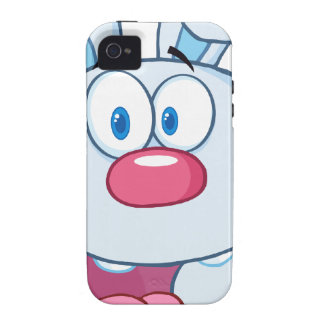 Cute Blue Bunny Cartoon Character Vibe iPhone 4 Covers