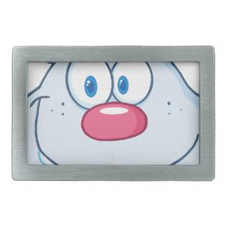 Cute Blue Bunny Cartoon Character Rectangular Belt Buckles