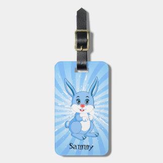 Cute Blue Bunny Cartoon Luggage Tag