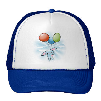 Cute Blue Bunny Flying With Balloons Mesh Hat