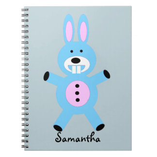 Cute Blue Bunny personalized notebook