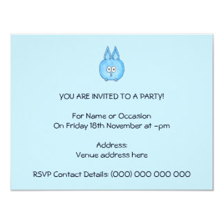 Cute Blue Bunny Rabbit. 11 Cm X 14 Cm Invitation Card