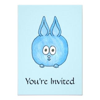 Cute Blue Bunny Rabbit. 13 Cm X 18 Cm Invitation Card