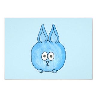Cute Blue Bunny Rabbit. 9 Cm X 13 Cm Invitation Card