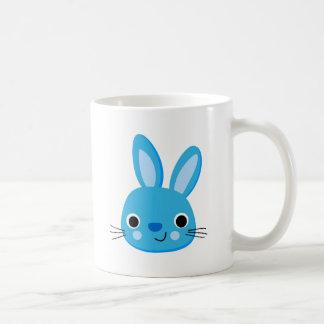 Cute Blue Bunny Rabbit Face Basic White Mug
