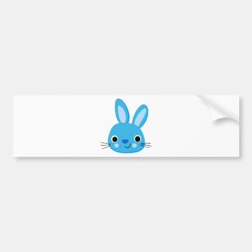 Cute Blue Bunny Rabbit Face Bumper Stickers