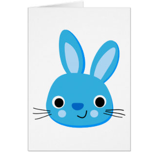 Cute Blue Bunny Rabbit Face Greeting Cards