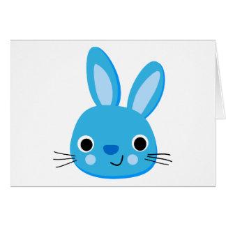 Cute Blue Bunny Rabbit Face Greeting Card