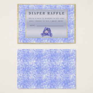 "Cute Blue Bunny ""Raffle"" Baby Shower Business Card"