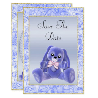 Cute Blue Bunny Save The Date Baby Shower Card