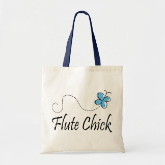 Cute Blue Butterfly Flute Chick Music Gift Tote Bag