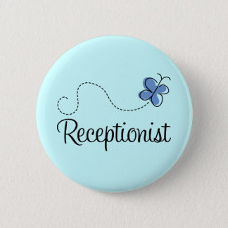 Cute Blue Butterfly Receptionist Job Gift 6 Cm Round Badge