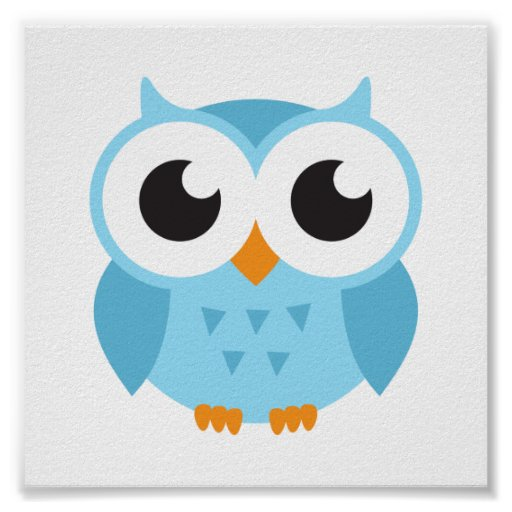 Cute Blue Cartoon Baby Owl Poster Zazzle Com Au