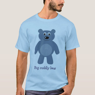 Cute Blue Cartoon Big Cuddly Bear T-Shirt