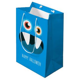 Cute blue cartoon monster Happy Halloween Medium Gift Bag